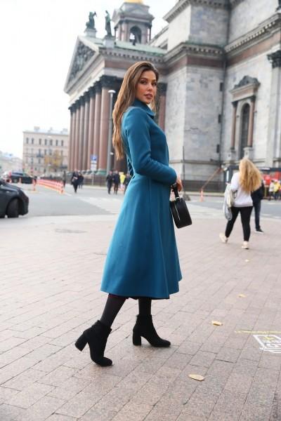 Зимнее пальто-платье Диор, морская волна. Арт. 474у