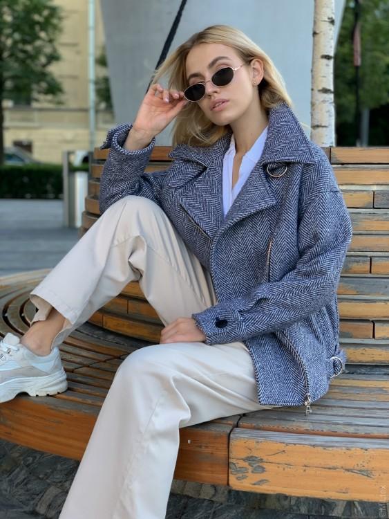 Шерстяная куртка-косуха, твид синий. Арт. 517