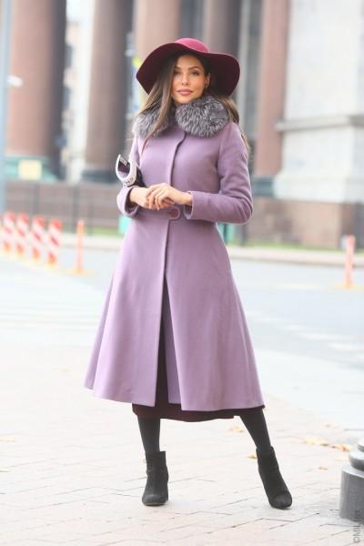 Зимнее пальто-платье Диор, сирень. Арт. 474у
