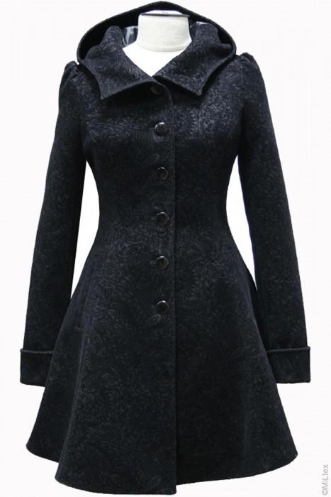 Пальто приталенное расклешенное со стойкой, черный с узором