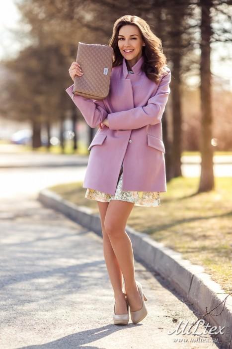 Пальто пиджачного типа на пуговице и кнопке,пепел розы.Арт 409